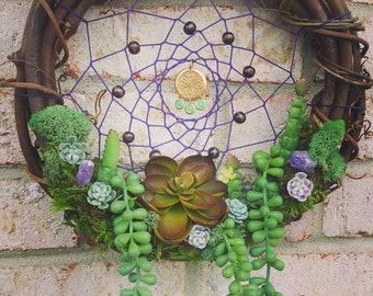 """WildBean Amethyst Succulent and Moss Dreamcatcher 10"""""""