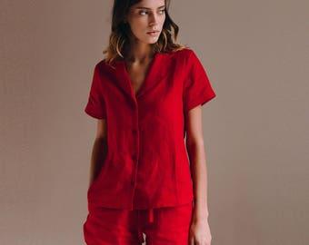 Linen pajama set. Bridesmaid pajama. Linen pajama. Sleepwear. Natural fabric. Linen sleepwear. Washed linen. Organic clothing. Homewear