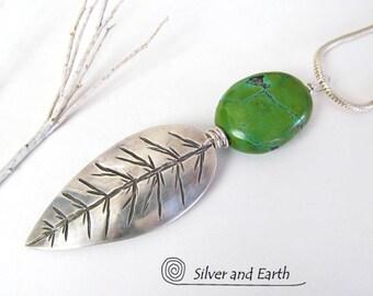 Collier plume turquoise argent massif, argent plume pendentif Turquoise, fait à la main moderne sud-ouest naturel Turquoise bijoux artisanaux