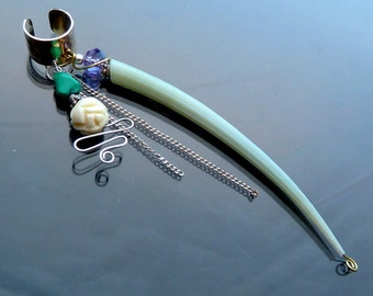 Vines n Chains n Ivory Rose Ear Cuff sterling silver green long shell amethyst turquoise gold OOAK jewelry