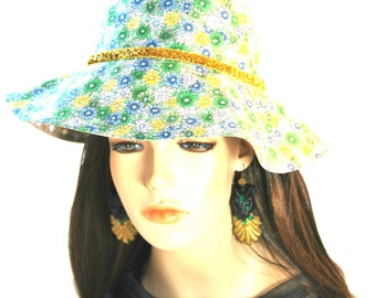 Girl's Daisy Sun hat with Gold Band
