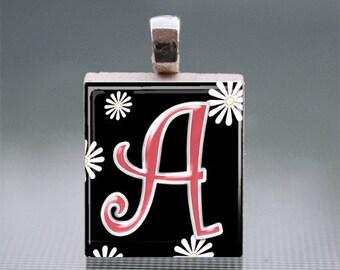 Alphabet A-J Scrabble Tile Pendants with Silver Ball Chain