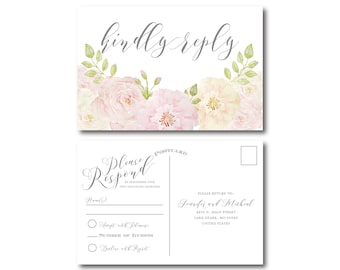 Floral Wedding RSVP Postcards, Floral Wedding, Watercolor Flowers, Floral Rsvp Postcard, Wedding Postcards, RSVP Card, Postcard #CL215