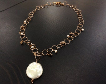 White Coin Pearl Pendant and Rose Gold Swarovski Crystals on Italian Rose Goldfilled Chain Necklace--Lady Rose--by Lady Grey Beads