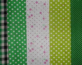 set of 5 cut 20 x 25 cm Green