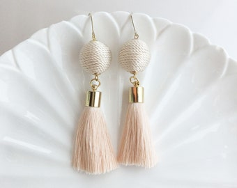 Ball Tassel Earrings, Dangling Earrings, Boho Tassel Earrings