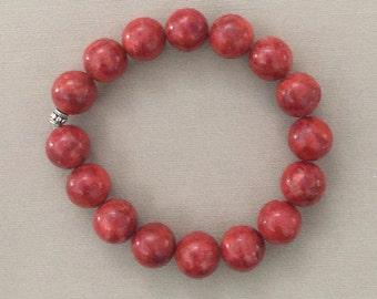 Red Sponge Coral Stretch Bracelet