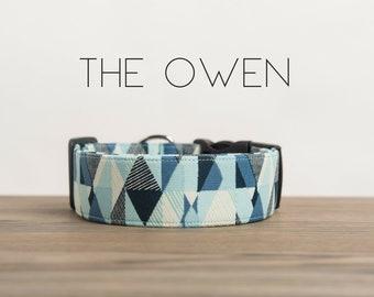 "Light Blue, Navy & Cream Modern Geometric Dog Collar ""The Owen"""