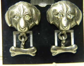 Silver Tone Rhinestone Labrador Dog With Bone Pierced Earrings