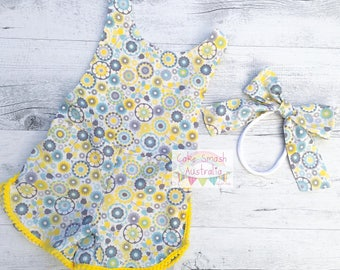 Sunshine Yellow Floral Sporty Romper / Cake Smash Outfit / Matching Headband