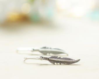 Native American style feather earrings | Antique silver tribal earrings | Boho earrings | Free spirit earrings | Sterling silver