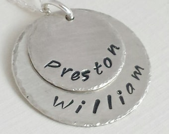 Personalized Mom Jewelry / Mom Necklace / Gift for Mom / Hand Stamped Necklace / Necklace with Kids Names  / Personalized Jewelry /