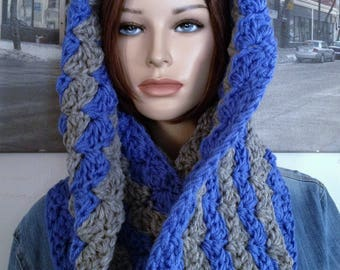 Wool Infinity Scarf, Chunky Hooded Cowl Scarf Hooded  Scarf, XXL Scarf Thick Winter Blue Grey Gray Scarf READY To SHIP