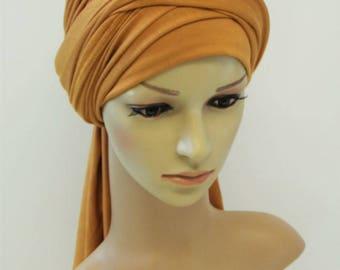 Volume turban hat, elegant head wear, full head covering, stylish turban snood, bad hair day scarf, stretchy head scarf, self tie headscarf