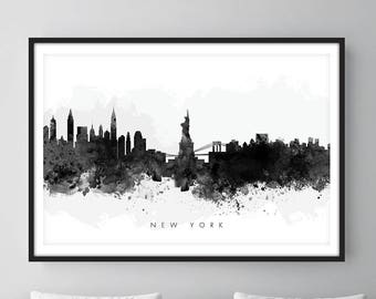 New York Skyline, NYC Cityscape, Art Print, Wall Art, Watercolor, Watercolour Art Decor [SWNYC05]