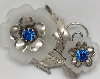 CARL ART STERLING and Camphor Glass Floral Brooch