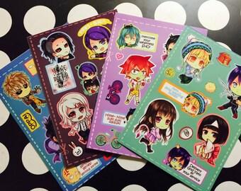 Chibi anime stickers sheet 02 (UNCUT)