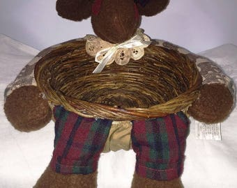 Vintage Plush Moose Christmas Holiday Wicker Basket 1995 New