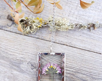 Flower necklace, inspirational, real plant necklace, gift for woman, terrarium necklace, locket necklace, statement necklace, crystal locket