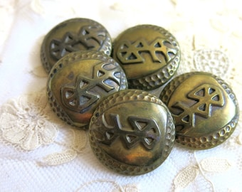 Old metal buttons with asian characters