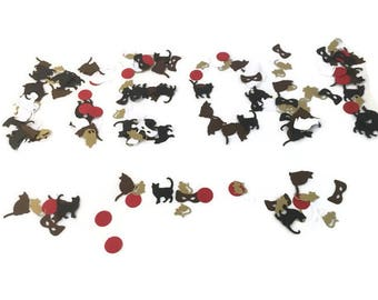 Cat themed birthday party table confetti-Black,Brown,White Cats & Mice,ball,cat gift wrapping,cat lover,cat party ideas