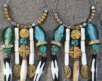 Handmade Tribal Earrings, Boho, Dangle, Festival, Western, Native, Runway, Bone, Cross, Glass, Turquoise, Statement (Shaman Earrings)
