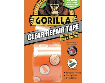 Transparent Duct Tape; 1.8 Inches x 5 Yards, Crystal Clear, Strong, Waterproof, Temperature, UV Resistant, Multipurpose Duct Tape, Gorilla