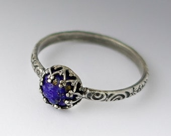 Lapis Lazuli Ring, Sterling Silver Pattern Band with Lapis Lazuli, Custom created in your size, Vintage Style Ring, Lapis Jewelry