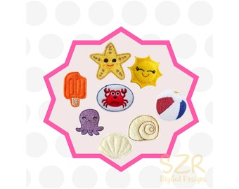 Summer Feltie Pack MACHINE EMBROIDERY FILE Digital Design, small embroidery, felties pattern,