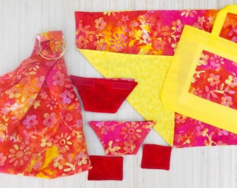 Baby Doll Care Set - Doll Ring Sling - Baby Doll Cloth Diaper - Doll Blanket - Doll Diaper Bag - Doll Baby Wipes - Doll Sling - Red Batik
