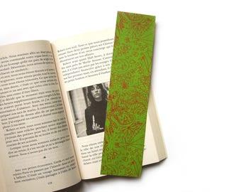 """Dream"" bookmark / green - ochre print"