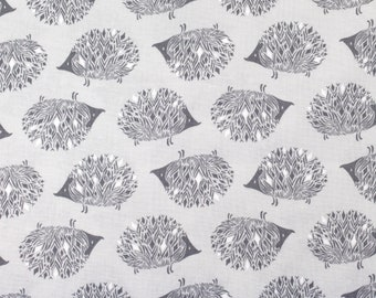 Gray Tones Cotton + Steel Sleep Tight Hedgehog Fabric by Sarah Watts