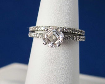 Estate Platinum 1.06 CT Asscher cut VS Diamond Engagement Ring and Diamond Band GIA Certificate