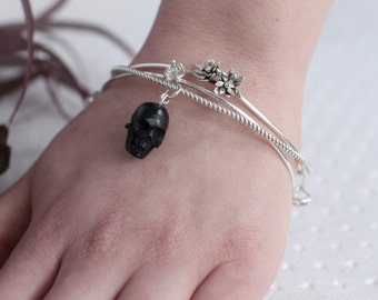 Gothic Bangle, Set of 3 Bangles, Goth Bracelet, Skull Bangle, Charm Bracelet, Stackable, Herkimer Jewelry, Gothic, Wiccan, Pagan, Witch