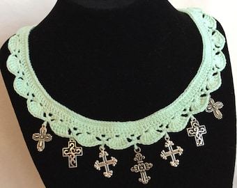 Crocheted Victorian Crosses Necklace - Free SHIPPING and READY to GO