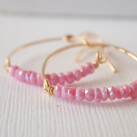 Pink Opal Hoops