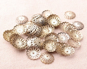 30pcs Flower End Cap Gold Beads End Caps 15mm  Filigree End Caps Charms Jewelry Finding