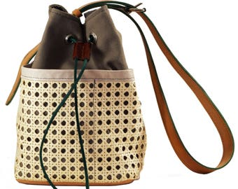 Canvas and leather, natural wickerwork handbag