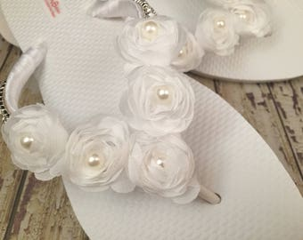 Lucy White Pearl Bridal Flip Flops Custom Floral Rose Flip Flops Dancing Shoes Bridal Sandals Wedding Flip Flops Beach Wedding Shoes Size 8