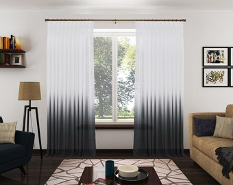 Ombré Sheer Drapery Panels. Modern Ombré Fabric Curtains. Custom Designer Window Coverings.  Black and White Drapery Panels