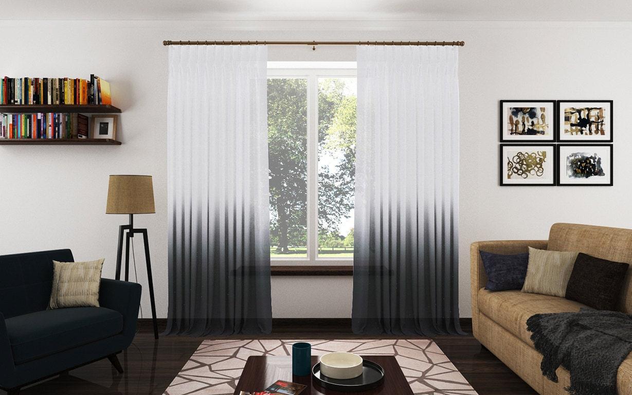 Ombré Sheer Drapery Panels. Modern Ombré Fabric Curtains.