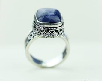Size 8 - Gem Grade KYANITE 925 S0LID (Nickel Free) Sterling Silver Vintage Setting Ring & FREE Worldwide Express Shipping R1742
