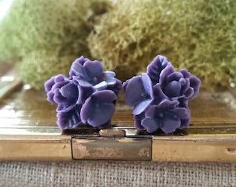 Flower Plugs, Wedding Gauges, Dark Purple Flower Gauges