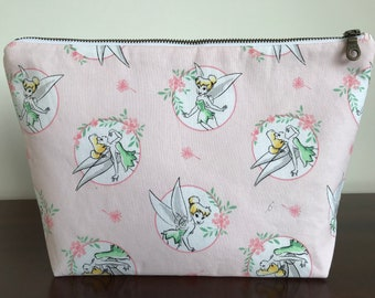 Large Tinkerbell Wash Bag Make Up Cosmetics Toiletry Zipper Pouch Disney Pink Peter Pan Fairy Princess