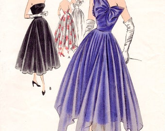 1950s 50s evening dress circular skirt one shoulder bow PICK YOUR SIZE Bust 32 34 36 38 vintage sewing pattern repro