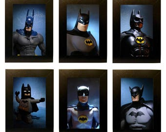 "Framed Batmen Action Figure Photos 4"" x 6"""