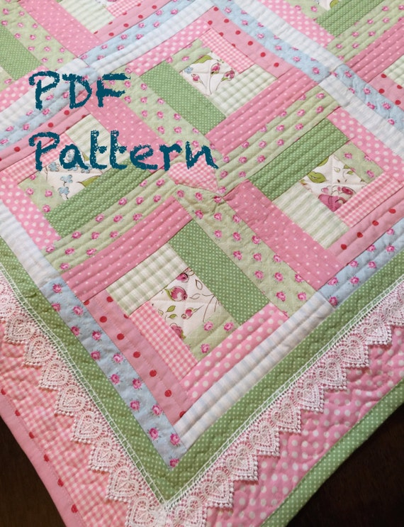 Chic Baby Girl Quilt Pattern Log Cabin Quilt Pattern Modern : log cabin baby quilt pattern - Adamdwight.com