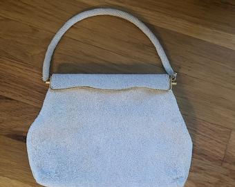 Vintage 1950s white hand beaded handbag