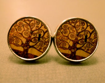 Wooden Tree Studs: Wooden Tree of Life Cabochon Earrings, Tree of Life, Nature, Tree Earrings, Branch