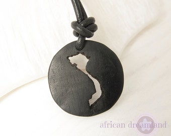 Vietnam Necklace Ebony Vietnam Map Pendant Wood Map Hanoi Map Adoption Jewelry in a kraft gift box with an Extra Free Gift.